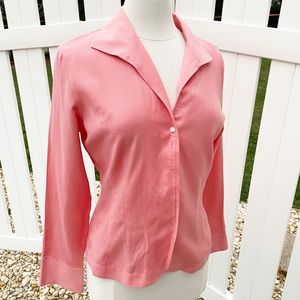 Talbots Coral Herringbone Button Up Long Sleeve